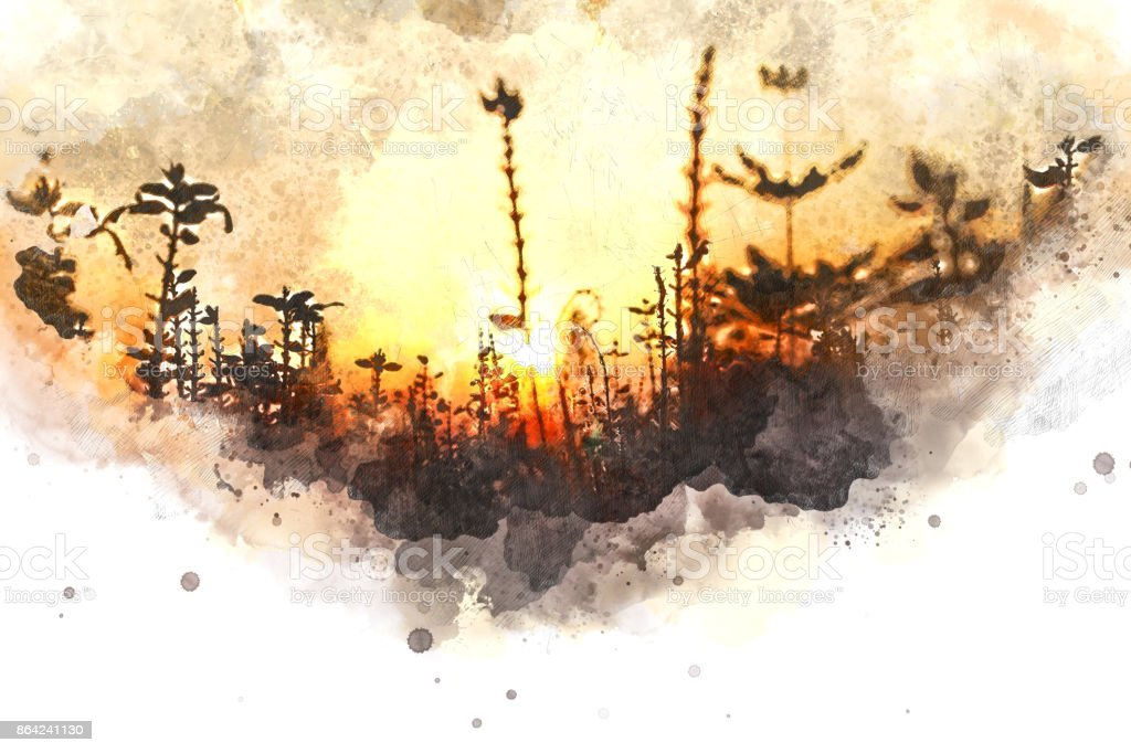 Abstract sunlight, sunrise, sunshine and tree on watercolor painting background. royalty-free stock photo