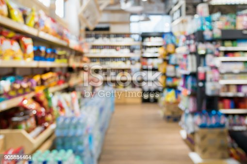 836871040 istock photo Abstract Supermarket aisle blur background 905884464