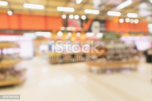 1072974214 istock photo Abstract supermarket grocery store blurred defocused background with bokeh light 926283094