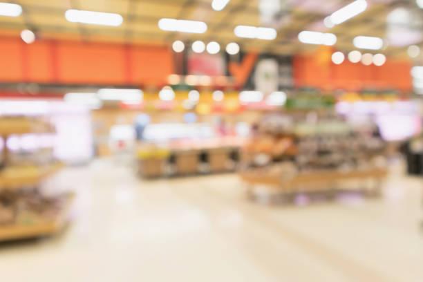 abstrakta stormarknad livsmedelsbutik suddig oskärpa bakgrunden med bokeh ljus - dagligvaruhandel, hylla, bakgrund, blurred bildbanksfoton och bilder