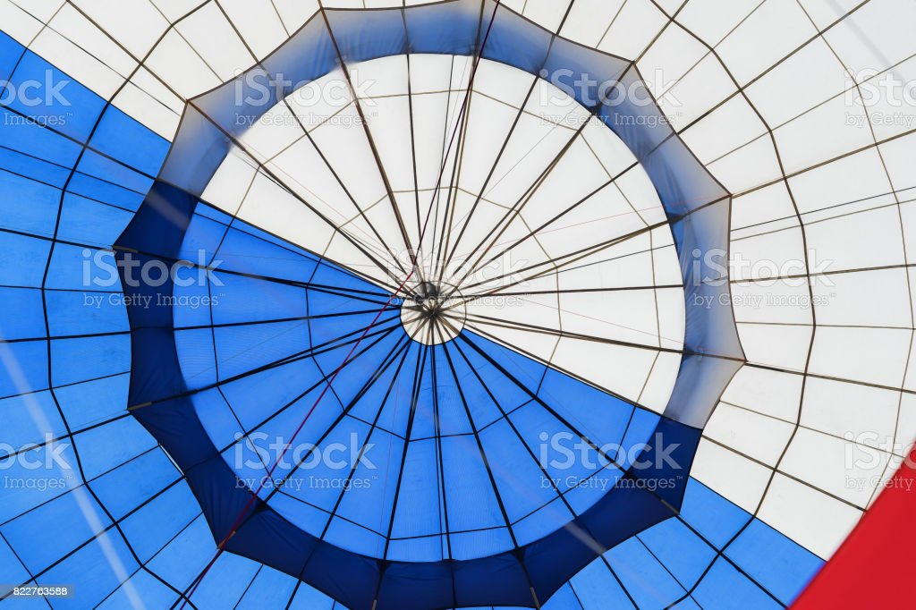 Abstract surface texture of hot air balloon close-up. Bright colors. Background for bright moments of life stock photo