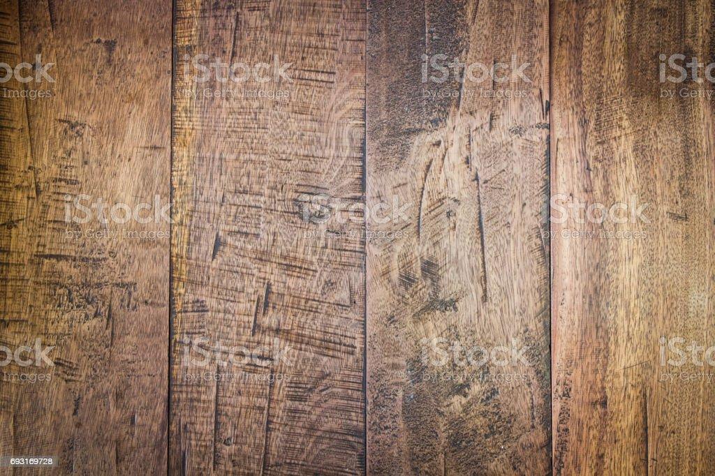 Abstrakte Oberfläche Holz Textur Tabellenhintergrund. Nahaufnahme des dunklen rustikale Wand aus alten Holztisch Planken Textur. Rustikalen braunen Holztisch Textur Hintergrund leere Vorlage für Ihr Design. – Foto