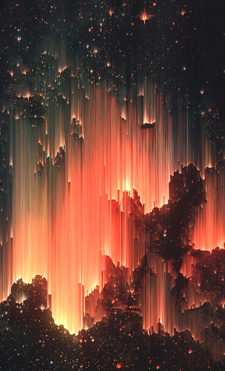 Abstract surreal background. Pixel Sorting Technique