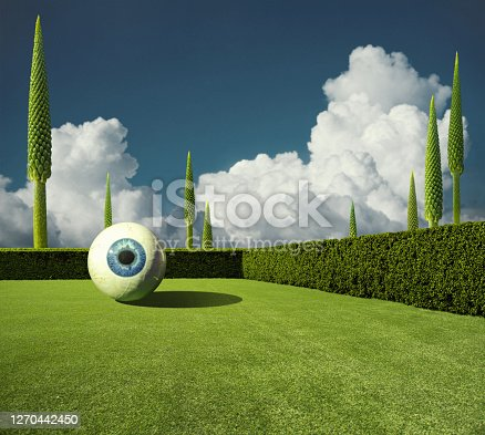 istock Abstract surreal nature background with giant eye 1270442450