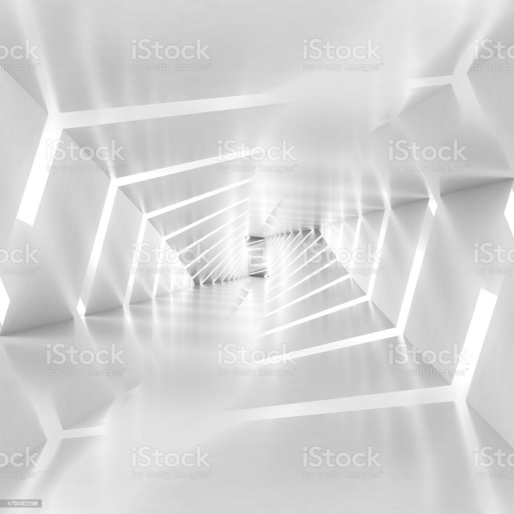 Abstract surreal tunnel background with spiral walls pattern stock photo