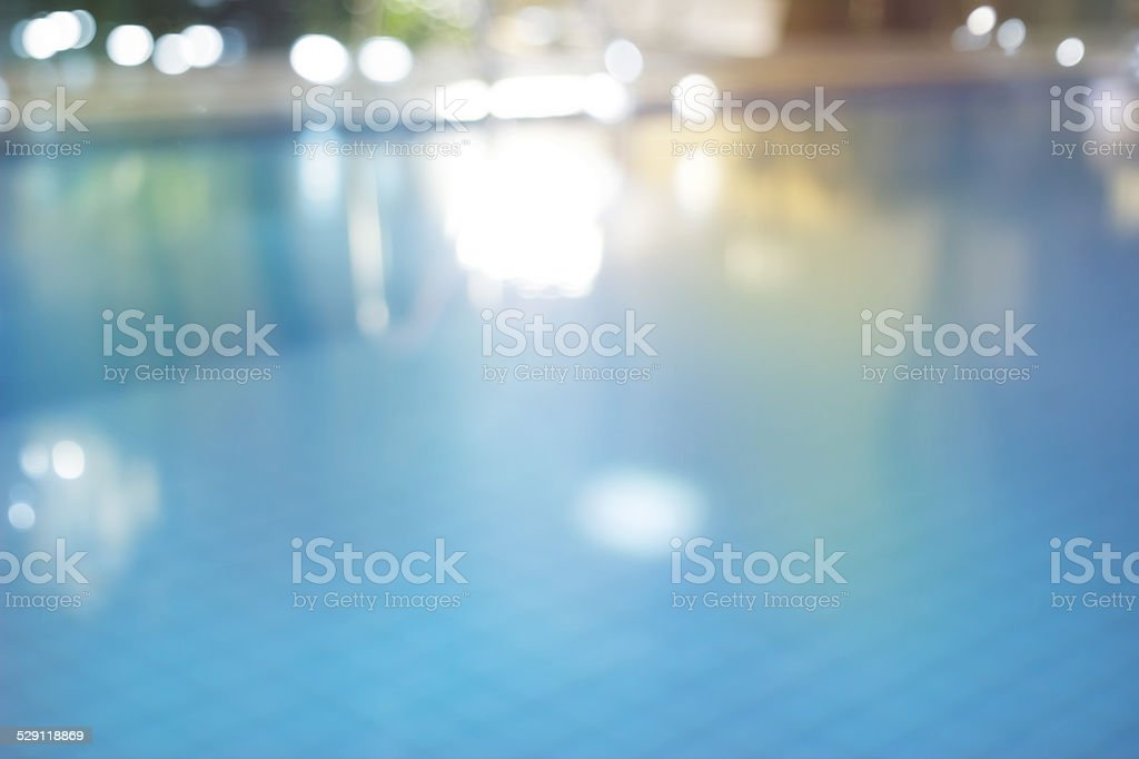 Abstract swimming pool at night , colorful and blur concept stock photo
