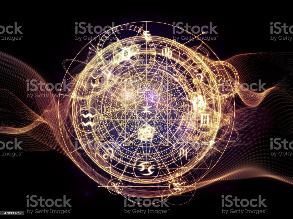 Abstract symbol of astrological signs stock photo