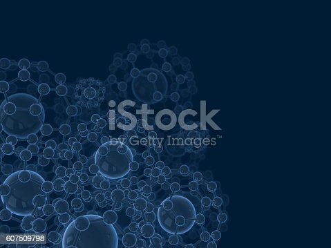 1046643326 istock photo Abstract symbol of atom and molecule .3D rendering 607509798