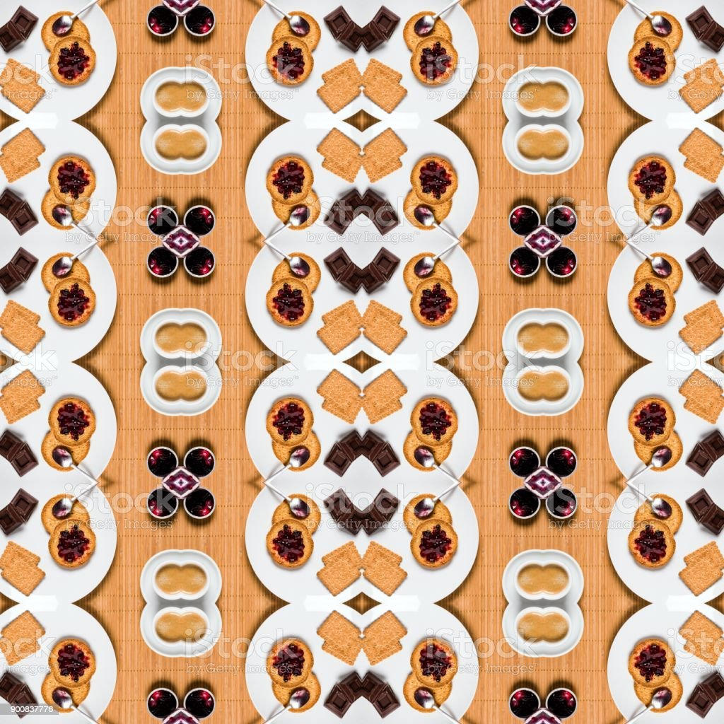 Abstract symmetric mosaic pattern backgrounds: Breakfast stock photo