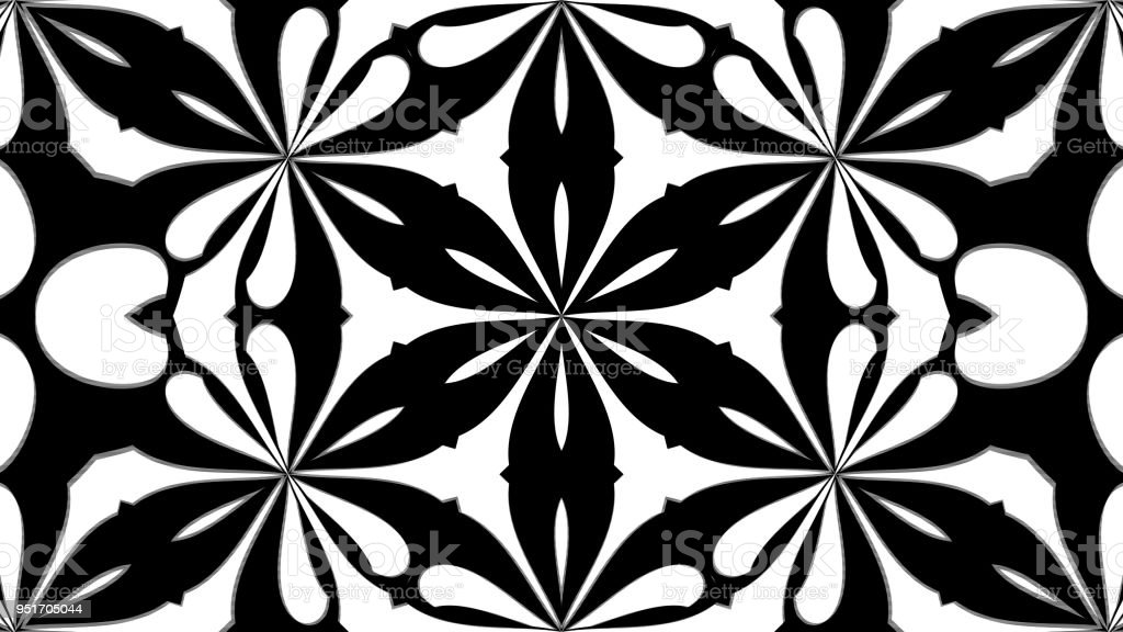 Abstract symmetry black and white kaleidoscope, 3d render backdrop, computer generating stock photo