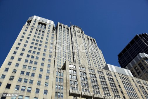 istock Abstract tall office buildings in downtown Chicago 184374357