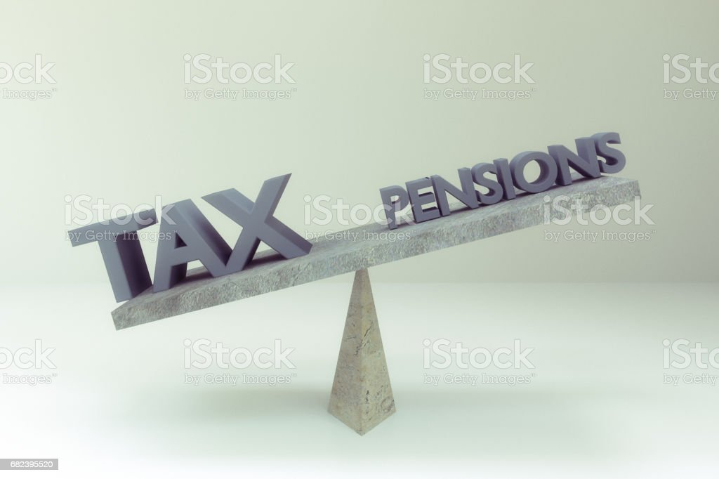 abstract TAX and pensions words on balance board royalty-free stock photo
