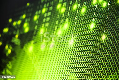 istock Abstract tech binary blue picture taked from perspective 669360220