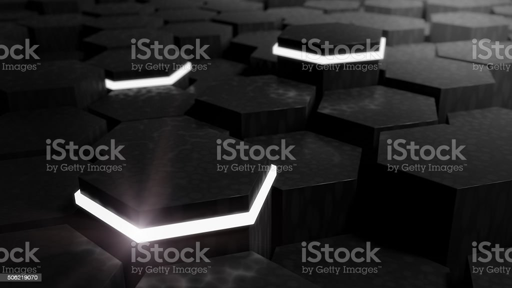 Abstract Technical 3D hexagonal background design stock photo
