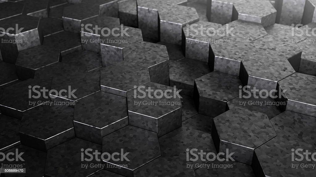 Abstract Technical 3D hexagonal background design stock photo