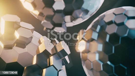 istock Abstract Technical 3D hexagonal background pattern design 1089729048