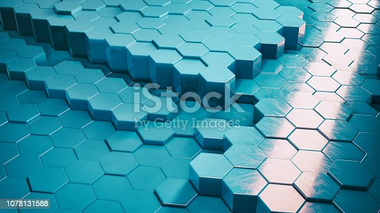 1003112136 istock photo Abstract Technical 3D hexagonal background pattern 1078131588