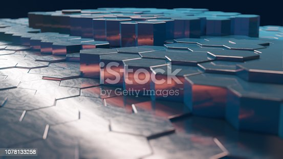1003112136 istock photo Abstract Technical 3D hexagonal background pattern 1078133258