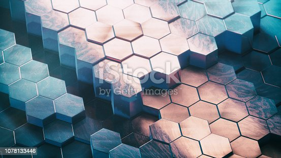 1003112136 istock photo Abstract Technical 3D hexagonal background pattern 1078133446