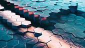 Abstract Technical 3D hexagonal background pattern- 3d rendered image with shallow DOF