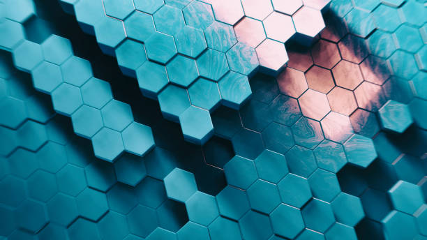 Abstract Technical 3D hexagonal background pattern stock photo