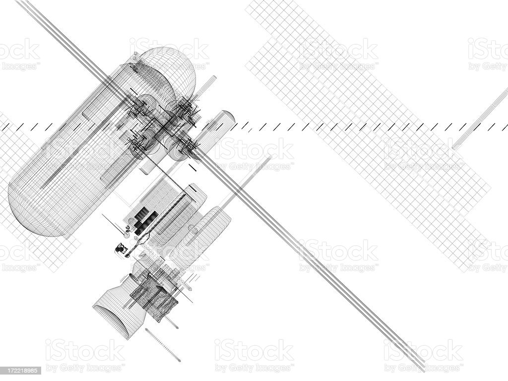 Abstract Technical Drawing stock photo