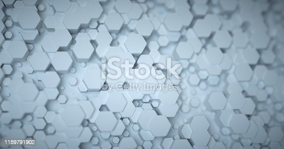 626187518istockphoto Abstract technological hexagonal background. 3d rendering. Geometric pattern. Graphic design elementfor wallpaper. Modern business card template 1159791902