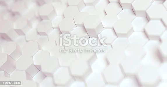 626187518istockphoto Abstract technological hexagonal background. 3d rendering. Geometric pattern. Graphic design elementfor wallpaper. Modern business card template 1159791904