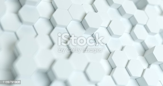 626187518istockphoto Abstract technological hexagonal background. 3d rendering. Geometric pattern. Graphic design elementfor wallpaper. Modern business card template 1159791908