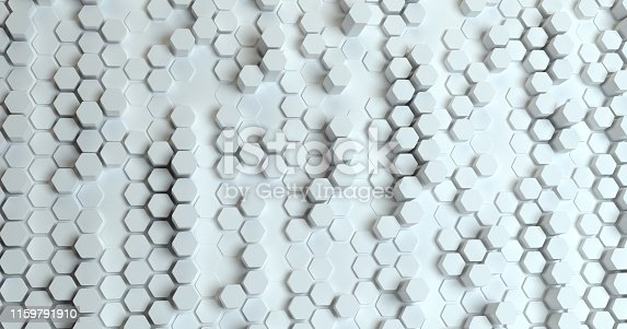 626187518istockphoto Abstract technological hexagonal background. 3d rendering. Geometric pattern. Graphic design elementfor wallpaper. Modern business card template 1159791910
