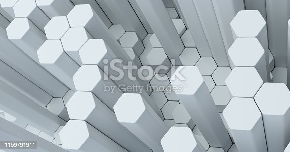 626187518istockphoto Abstract technological hexagonal background. 3d rendering. Geometric pattern. Graphic design elementfor wallpaper. Modern business card template 1159791911