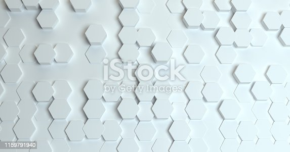 626187518istockphoto Abstract technological hexagonal background. 3d rendering. Geometric pattern. Graphic design elementfor wallpaper. Modern business card template 1159791940