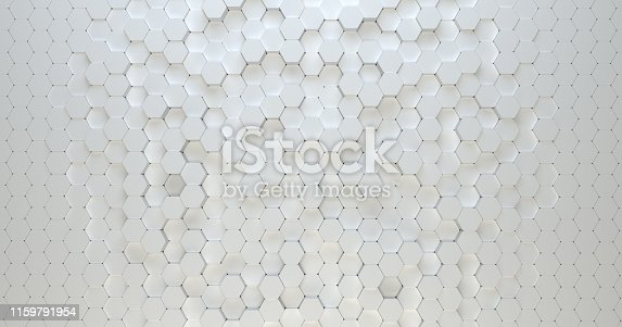 626187518istockphoto Abstract technological hexagonal background. 3d rendering. Geometric pattern. Graphic design elementfor wallpaper. Modern business card template 1159791954