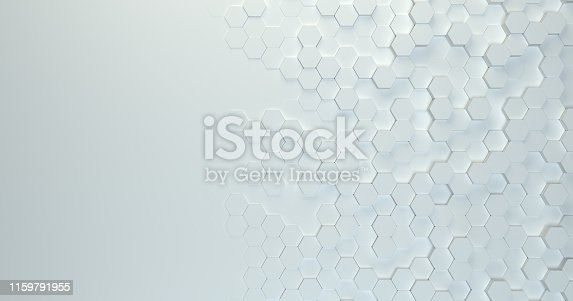 626187518istockphoto Abstract technological hexagonal background. 3d rendering. Geometric pattern. Graphic design elementfor wallpaper. Modern business card template 1159791955