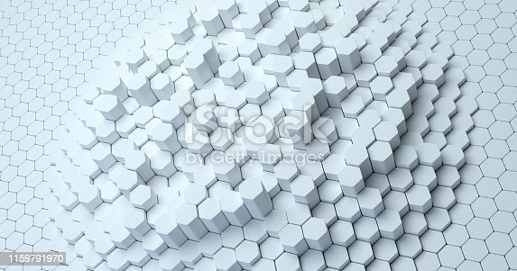 626187518istockphoto Abstract technological hexagonal background. 3d rendering. Geometric pattern. Graphic design elementfor wallpaper. Modern business card template 1159791970
