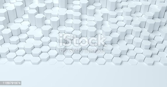 626187518istockphoto Abstract technological hexagonal background. 3d rendering. Geometric pattern. Graphic design elementfor wallpaper. Modern business card template 1159791974