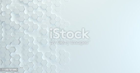626187518istockphoto Abstract technological hexagonal background. 3d rendering. Geometric pattern. Graphic design elementfor wallpaper. Modern business card template 1159791980