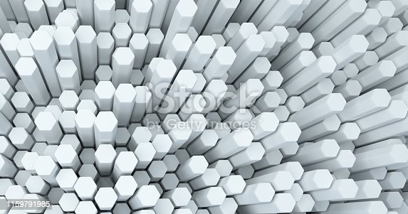 626187518istockphoto Abstract technological hexagonal background. 3d rendering. Geometric pattern. Graphic design elementfor wallpaper. Modern business card template 1159791985