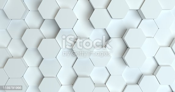 626187518istockphoto Abstract technological hexagonal background. 3d rendering. Geometric pattern. Graphic design elementfor wallpaper. Modern business card template 1159791995