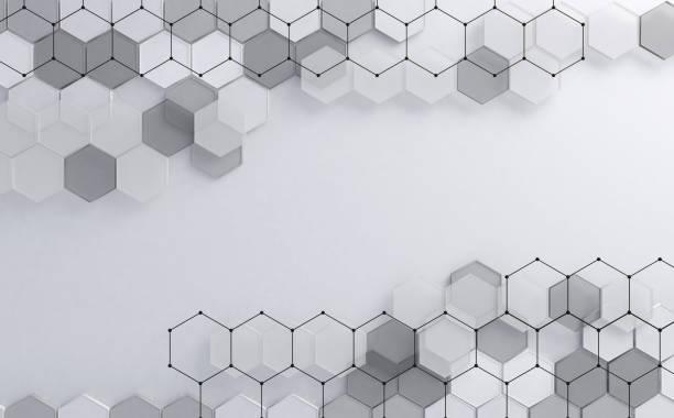 Abstract technology and digital hi tech hexagons backdrop stock photo