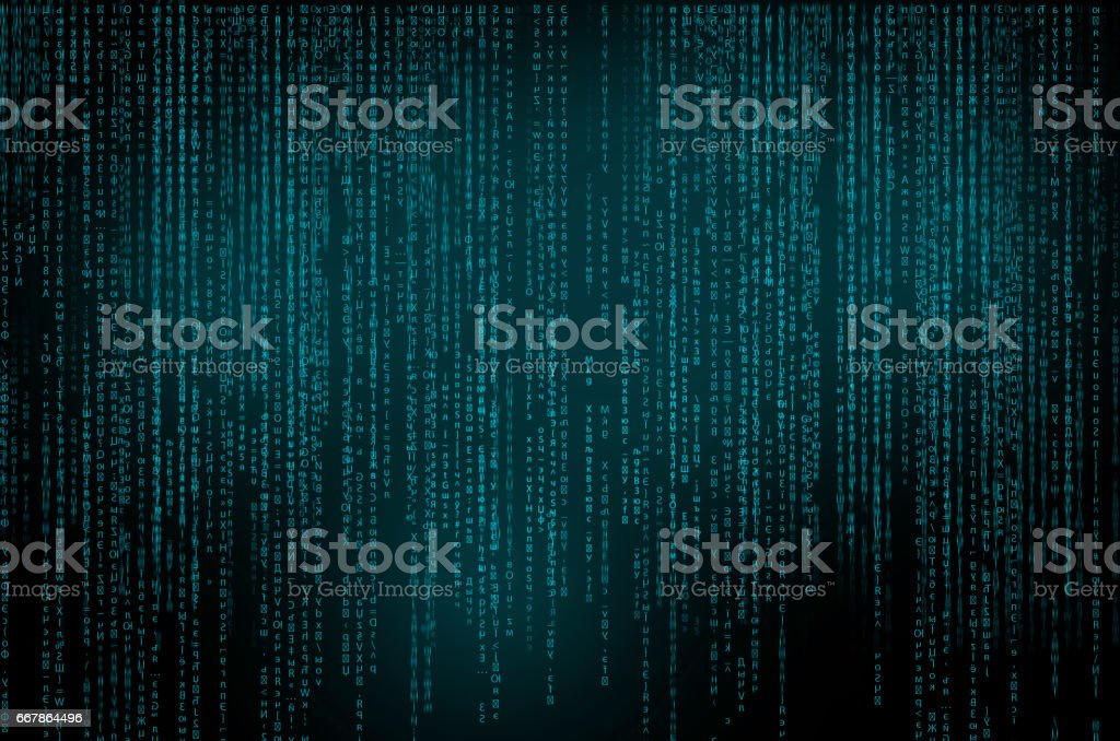 Fond abstrait de la technologie. Code binaire informatique. Programming / Coding / concept de Hacker. Vector Background Illustration. - Photo