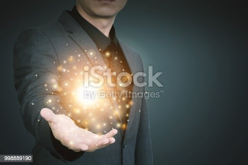 istock Abstract technology background. Global network business marketing. World wide business concept. 998889190