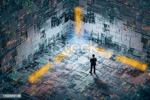 Abstract technology background image with standing businessman. This is entirely 3D generated image.