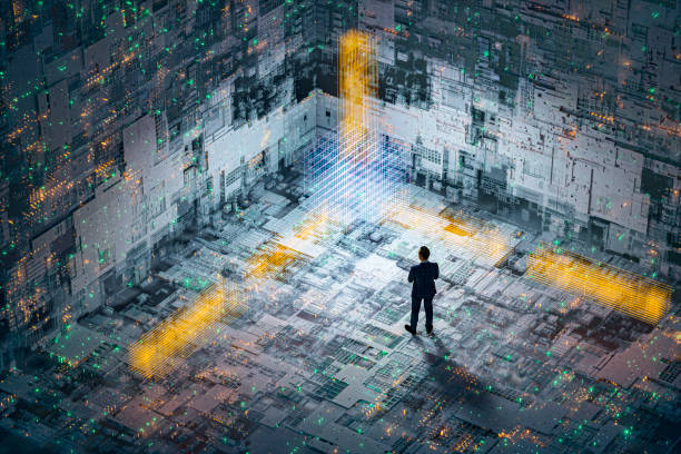 Abstract technology background image with standing businessman stock photo
