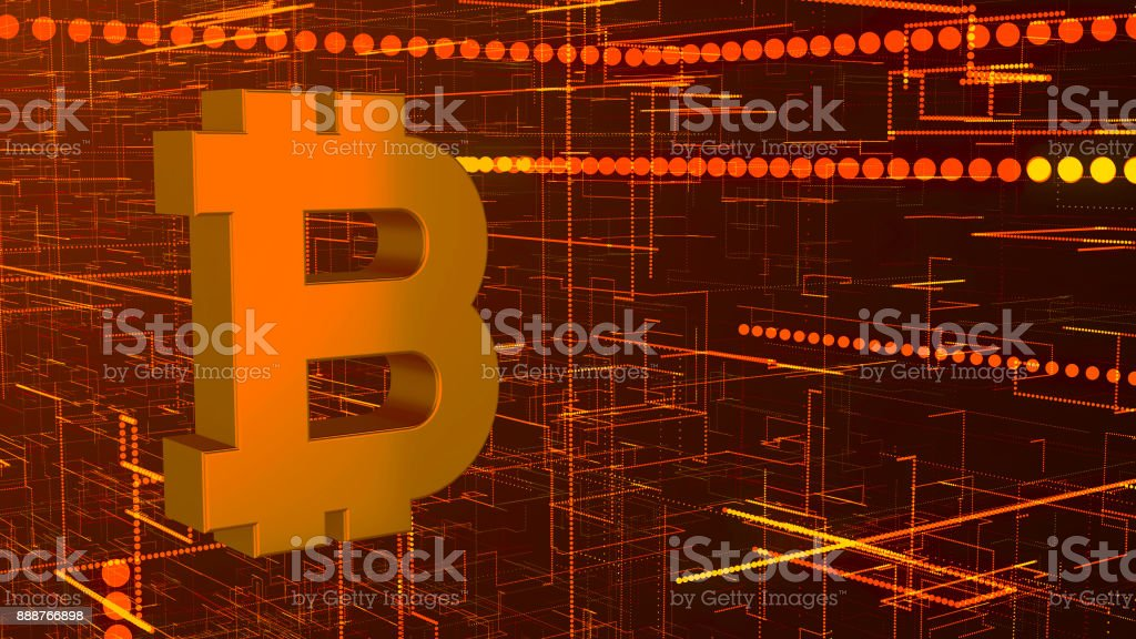 Abstract technology background with bitcoin sign stock photo