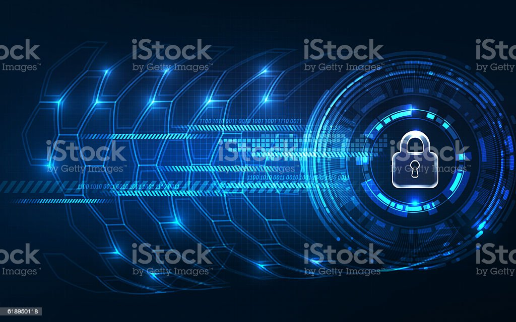 Abstract Technology background.Security concept with padlock ico stock photo