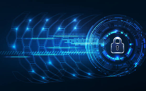 Abstract Technology background.Security concept with padlock ico Abstract Technology background.Security concept with padlock icon security staff stock pictures, royalty-free photos & images