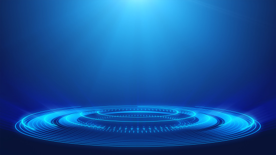 Abstract Technology Blue Spotlight Backgrounds Loopable Elements 4k Resolution Stock Photo - Download Image Now