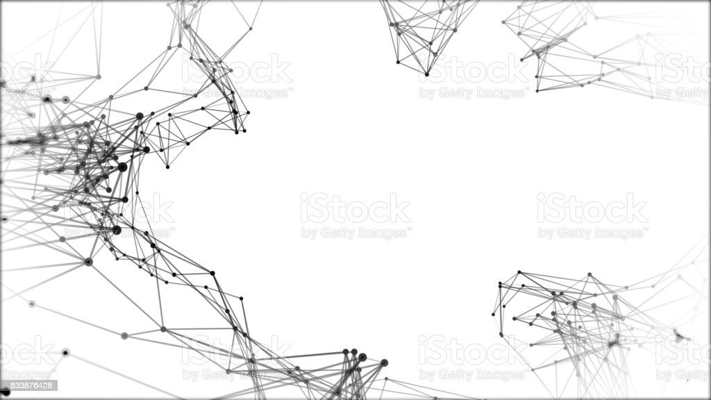 Abstract technology futuristic network - fantasy plexus background. 3D rendering. stock photo