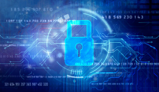 Abstract technology security on global network background, stock photo